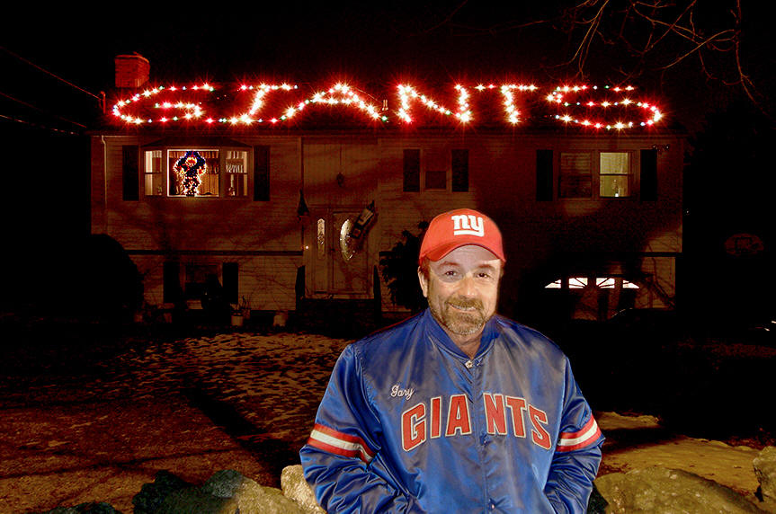 A New York Giants football fan expressing his fanhood with Christmas Lights - A New York Giants Football Fan Expressing His Fanhood With Christmas